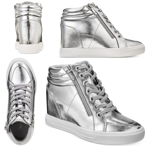aaf1bbd29278 NWB Aldo Kaia Lace-Up Wedge Sneakers SILVER SIZE 9